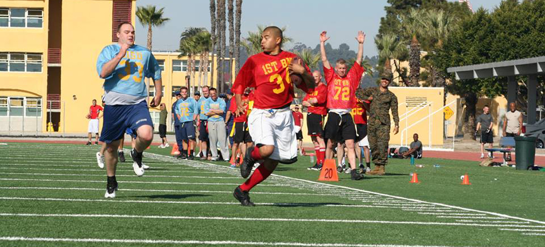 MCRD Marines playing flag football.