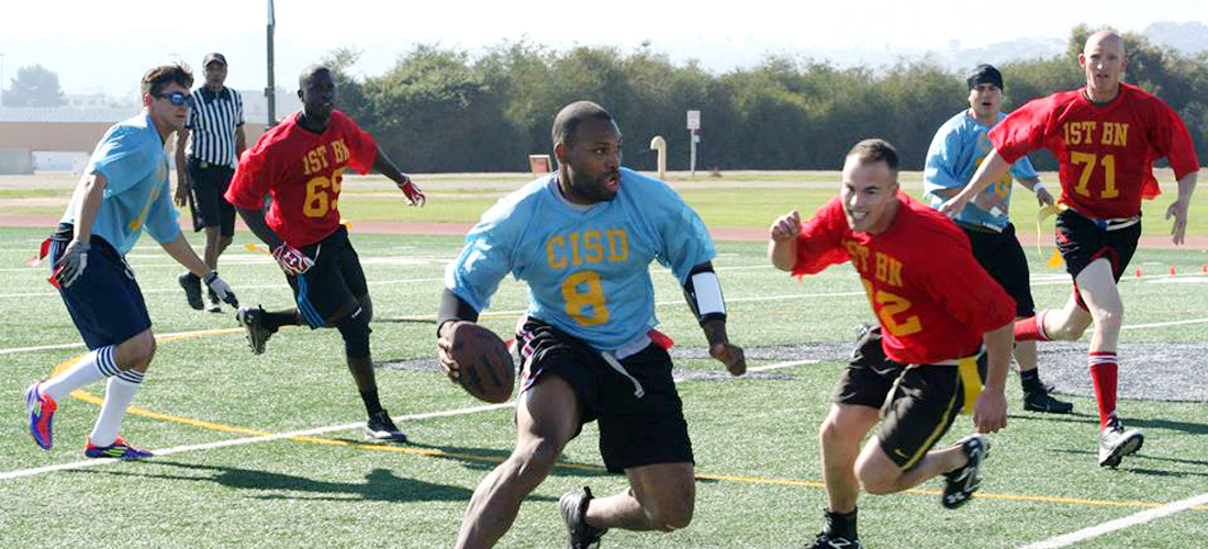 MCRD Marines playing flag football