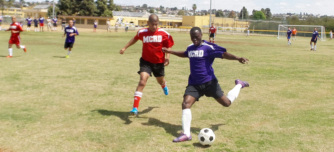 MCRD Marines playing soccer.