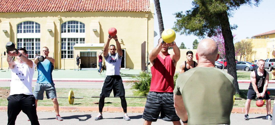Image of group exercise outside of the Fitness Center.