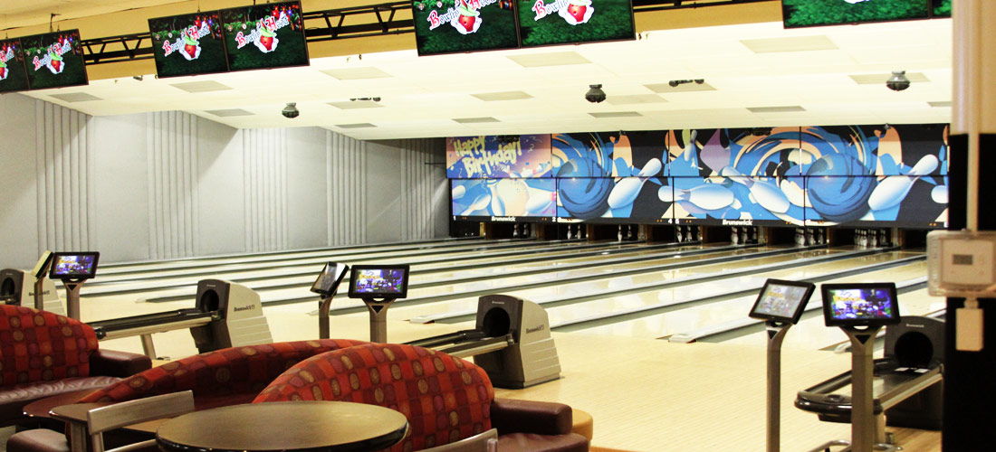 Image of the Recreation Center's bowling lanes.
