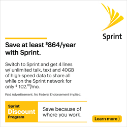 Sprint banner ad - Save at least $864.00 a year with Sprint!
