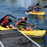 Images of Marines enjoying the Marina in kayaks.