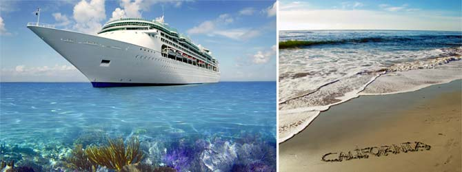 Images of a cruise ship and of surf on the beach.