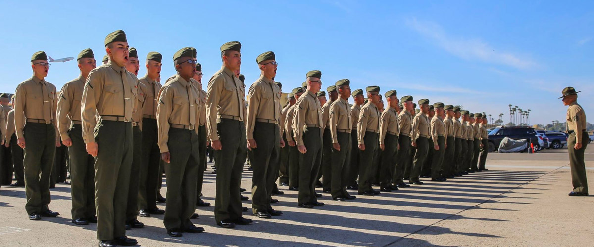 Images of Marines at Graduation.