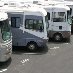 Images of RVs in storage